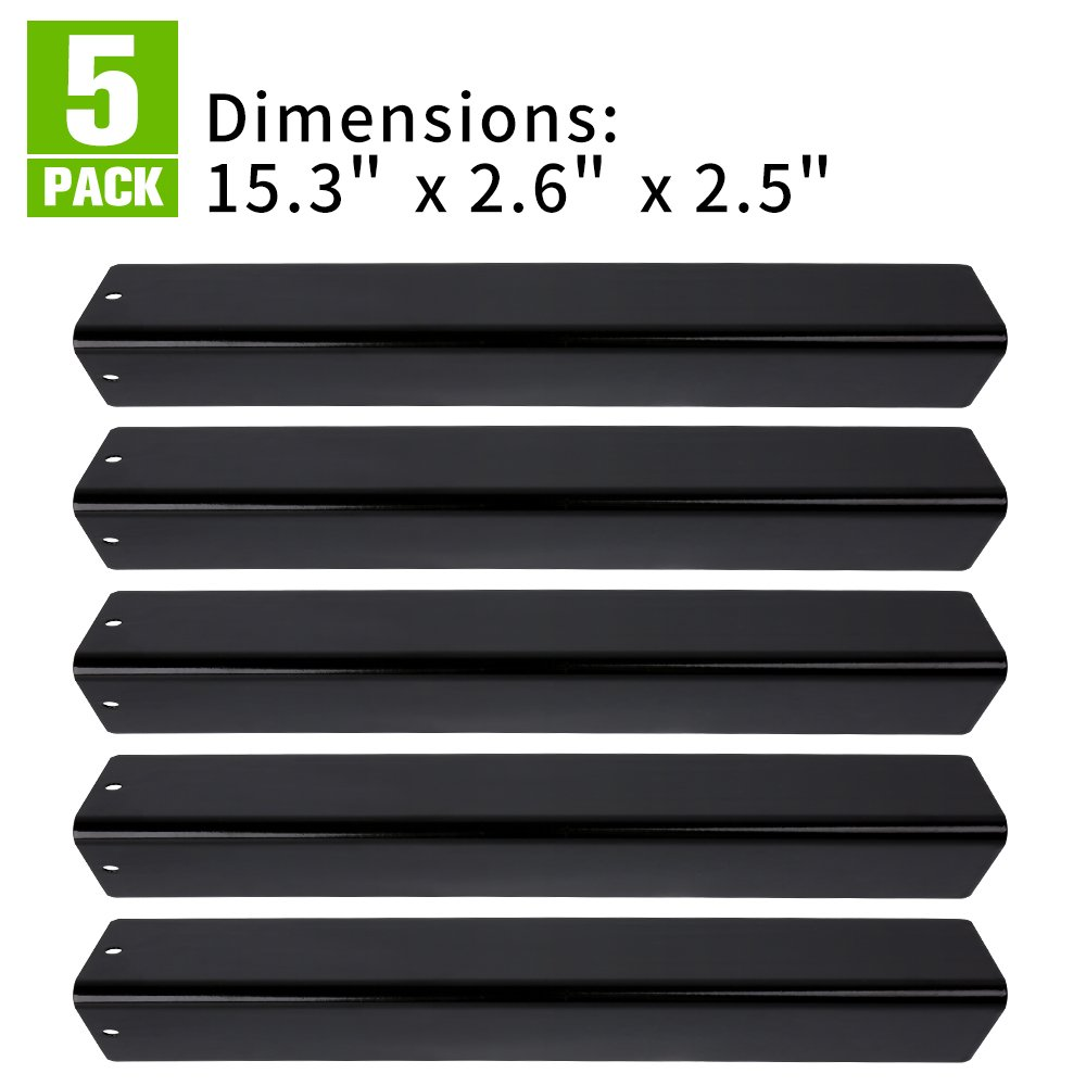"""XHome Replacement Flavorizer Bar Porcelain Steel Grill Heat Plate for Weber Spirit 300 310 320 E310 E320 Series Gas Grill (with Front Controls), KLW-OO7 (15.3"""" x 2.6"""" x 2.5"""") (5 Pack)"""