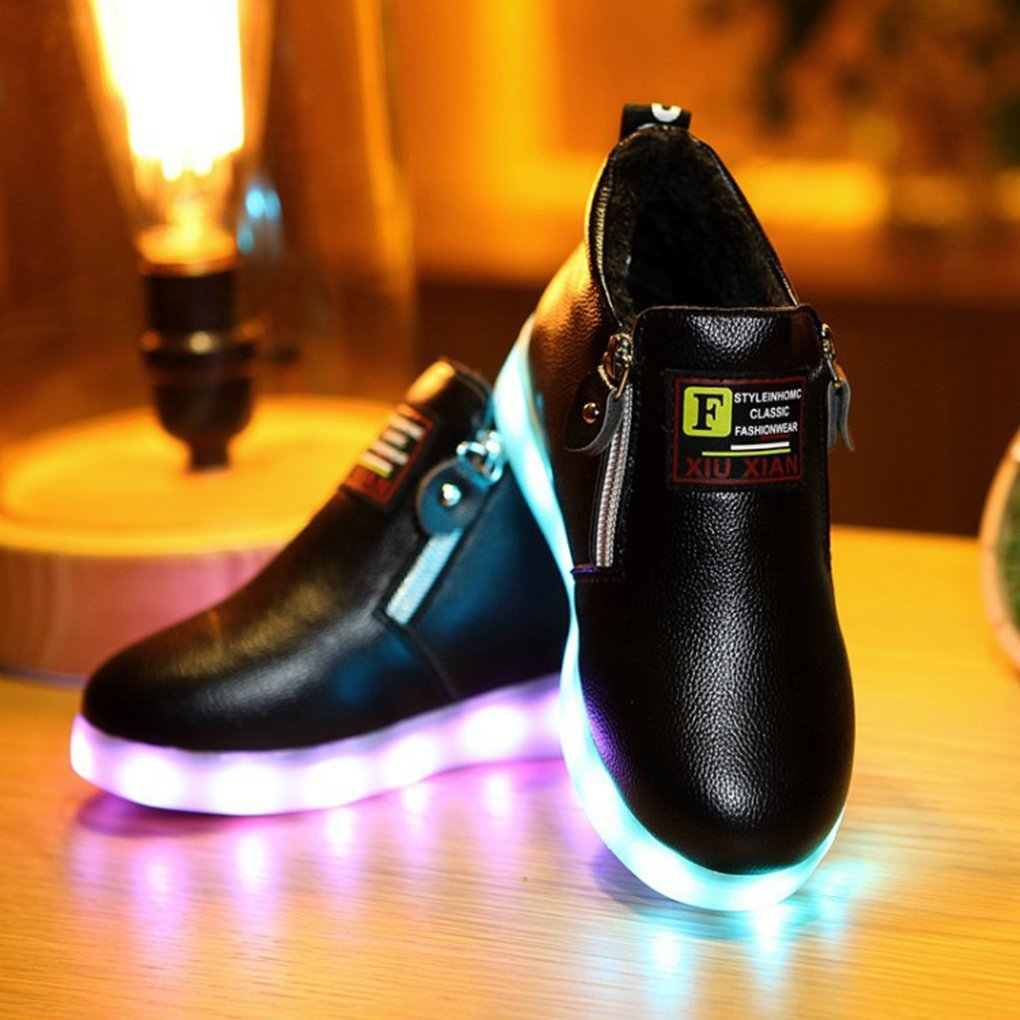 sexphd Light Up Shoes Girls Boys High Top LED 7 Colors USB Chargeable Sneakers