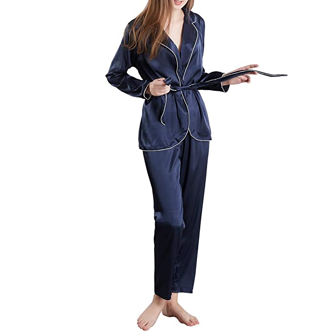 0c247f5913 MANSIDUN Womens Silk Satin Pajamas Set Long Sleeve and Pj Pants Sleepwear  Loungewear (XXL