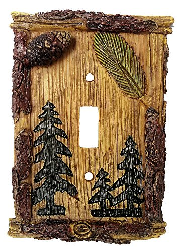 (Pinecone & Tree Rustic Single Switch Plate)