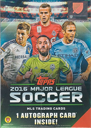 Mls Soccer Trading Cards - 2016 Topps MLS Soccer Unopened Factory Sealed Blaster Box of Packs with One GUARANTEED Autographed Card in Every Box