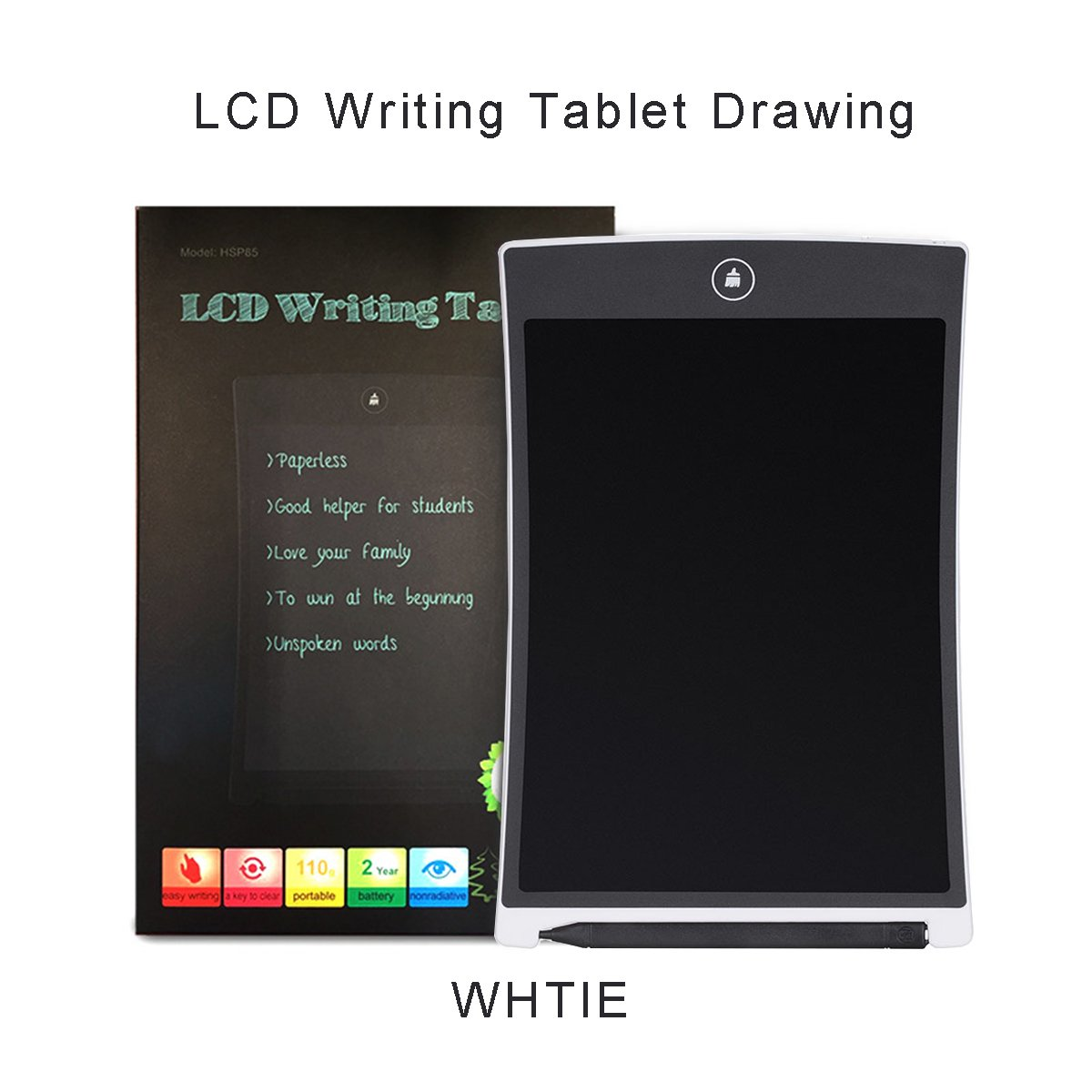 8.5″ Digital LCD Writing Pad Tablet eWriter Electronic Drawing Graphics Board Notepad with Stylus (White)