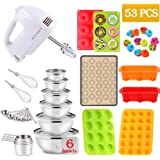 Electric Hand Mixer with Mixing Bowls Measuring Cups & Spoons Set, Nonstick Silicone Bakware Set of Cupcake Donut Pans, Muffi