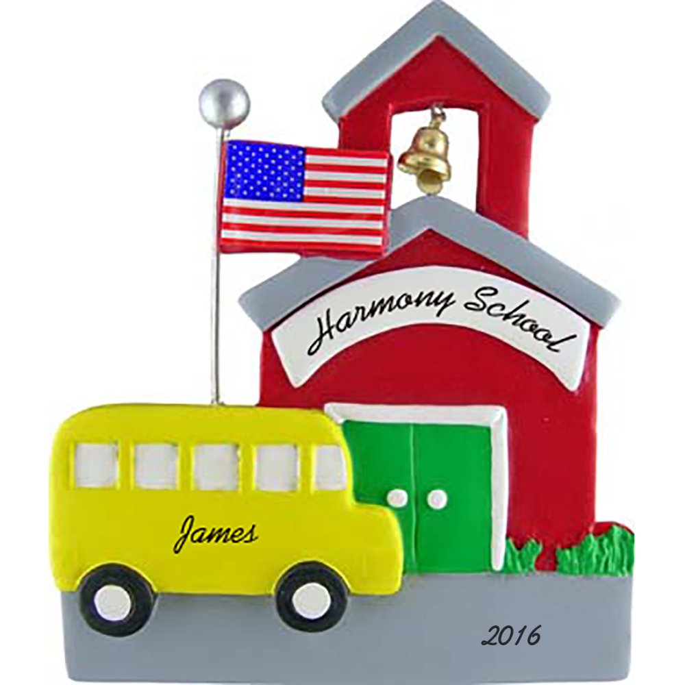 Schoolhouse with School Bus Personalized Christmas Ornament - American Flag - 4.5'' Tall - Handpainted Resin - Free Customization by Calliope Designs