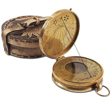 Reloj de sol brújula latón ornamentales Vasco de Gama