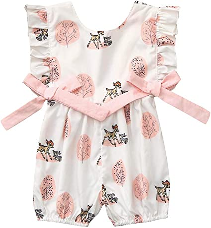 Newborn Infant Baby Girl Boy Bow Cartoon Deer Romper Jumpsuit Clothes Outfits
