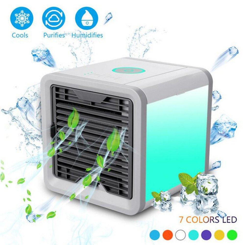 VYVERN Luxury Arctic Air Cooler Mini Air Conditioner Small Air Conditioning Fan Air Cooler Fan Cooling Fan Portable Strong Wind Summer (Seven colors light)