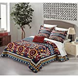 4 Piece Blue Yellow Gold Red African Themed Quilt King Set, Hippie Pattern Bedding Bohemian Hippy Tribal Native American Southwest Paisley Motif, Reversible Diamond Aztec Artistic, Microfiber