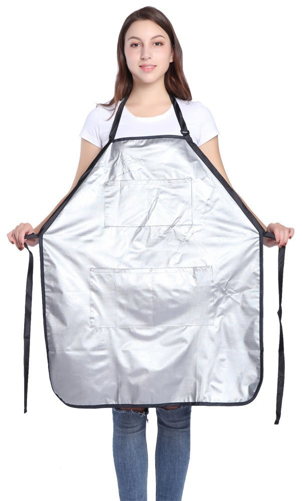 Hairdresser Apron for Hair Stylist, Professional Salon Barber Waterproof Smock Vest with Pockets, PVC, Silver by PERFEHAIR
