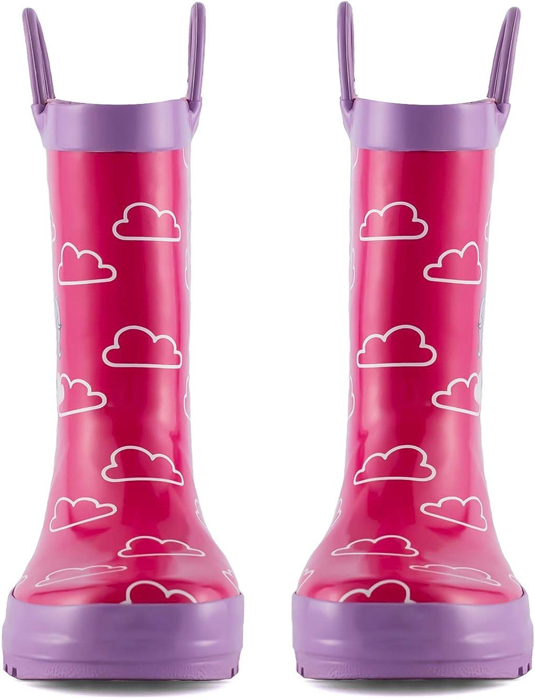 KomForme Kids Girl Boy Rain Boots Waterproof Rubber Printed with Handles