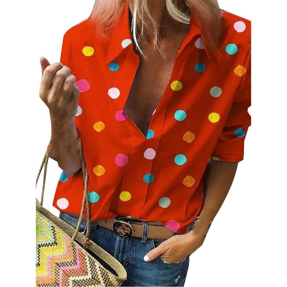 con Scollo a V Stile Casual Top Chic Taglia Grande Camicia da Donna a Pois Stampati Dihope