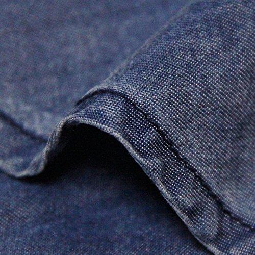 Blau Damen Langarm Kleid A LHA82086 Partykleid Midi Denim Linie DISSA Kleider OZvxwqf