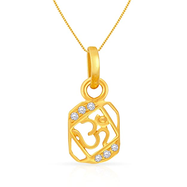 Malabar Gold and Diamonds 22k Yellow Gold and Cubic Zirconia Pendant Pendants