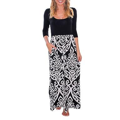 218b92664e 3/4 Sleeve Dresses, Womens Beautiful Floral Print Long Boho Dress Lady  Beach Summer