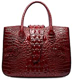PIFUREN Designer Crocodile Handbags Women Top Handle Satchel Shoulder Bags M1110(One Size, Red)