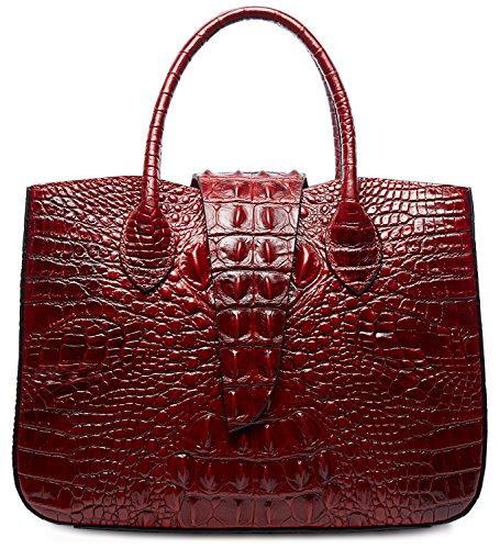 PIFUREN Designer Crocodile Handbags Women Top Handle Satchel Shoulder Bags M1110(One Size, Red) by PIFUREN