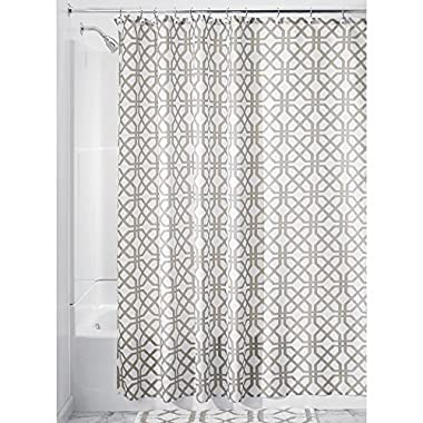 InterDesign Trellis Fabric Shower Curtain - 72  x 72 , Stone Gray/White
