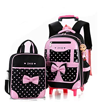 Amazon.com | Meetbelify Rolling Backpacks For Girls School Bags ...