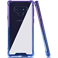 BAISRKE Galaxy Note 9 Case,Blue Purple Gradient Shock Absorption Flexible TPU Soft Edge Bumper Anti-Scratch Rigid Slim Protective Cases Hard Plastic Back Cover for Samsung Galaxy Note 9 SM-N960F