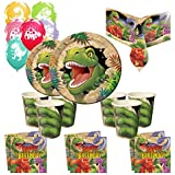 Dinosaur Essential Party Kit for 16, Plates, Cups, Napkins, Tablecover!!