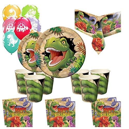 Dinosaur Essential Party Kit for 40, Plates, Cups, Napkins, Tablecover!! by Creative Party by Creative Party