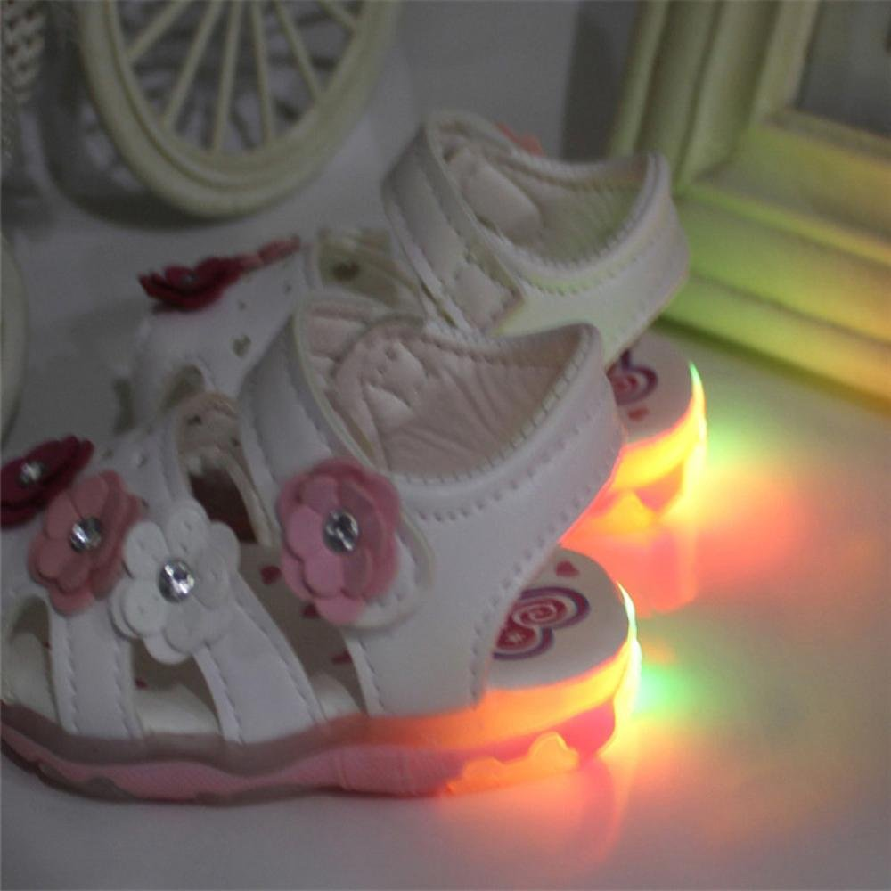 Fullfun Toddler Baby Girls Flowers Sandals Lighted Hoop and Loop Princess Shoes