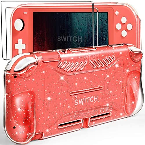 iVoler Protective TPU Glitter Case for Nintendo Switch Lite 2019 with 2 Pack Tempered Glass Screen Protector, Grip Cover with Shock-Absorption and Anti-Scratch Design, HD Clear,Krystal Glitter