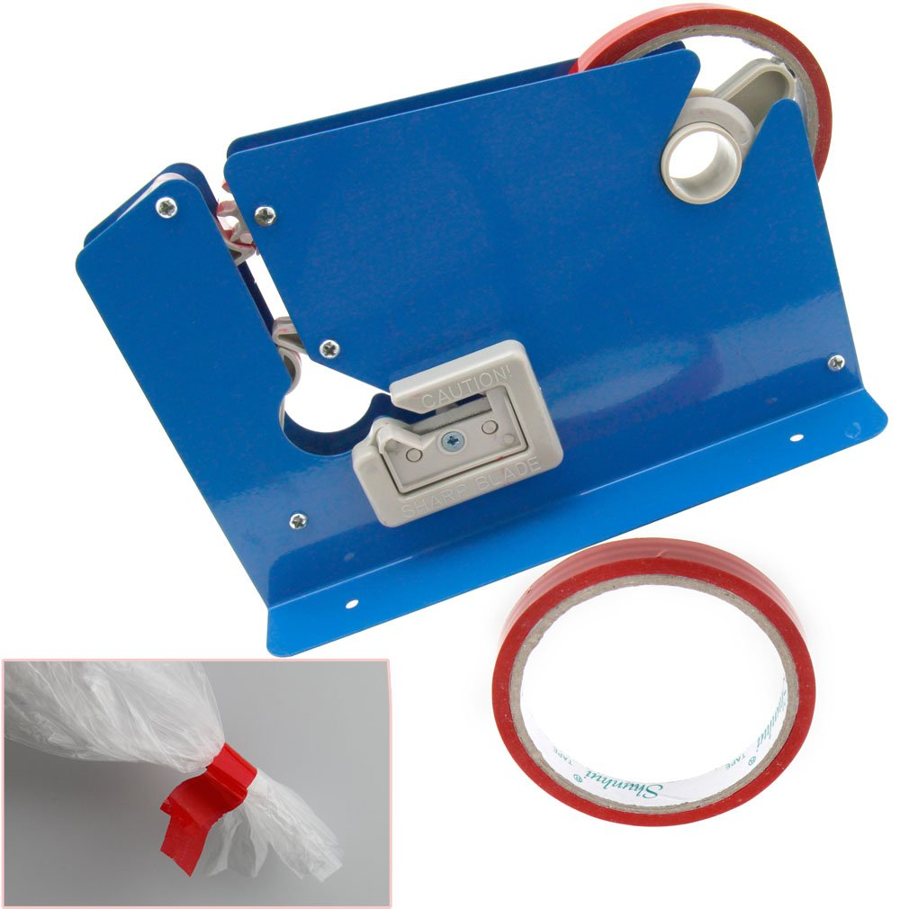 New Metal Blue Colours Trimming Blade Plastic Bag Neck Sealer with 2 Rolls Tape