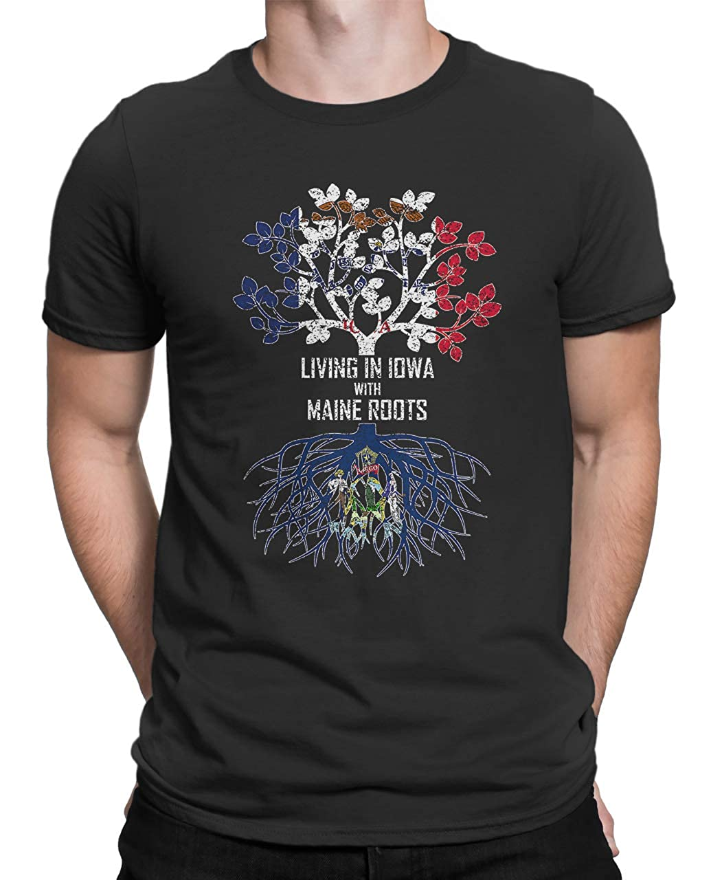 Tenacitee Mens Living in Iowa Maine Roots T-Shirt