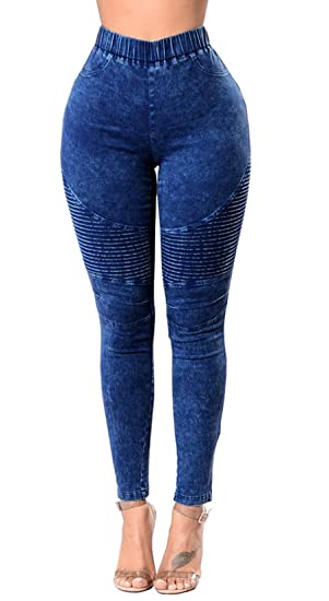 Women Skinny Colorful Jeggings Stretchy Pants Soft Leggings Pencil Navy Blue 2XL
