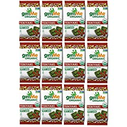gimMe Snacks - Organic Roasted Seaweed - Teriyaki - (.35oz) - (Pack of 12) - non GMO, Gluten Free - Healthy on-the-go snack for kids & adults