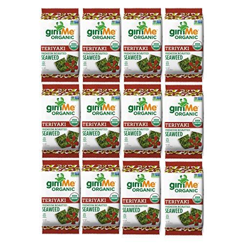 Roasted Seaweed (gimMe Snacks Organic Premium Roasted Seaweed, Teriyaki, Gluten-Free & Non-GMO, 0.35 Ounce (10 g) -  (Pack of 12))