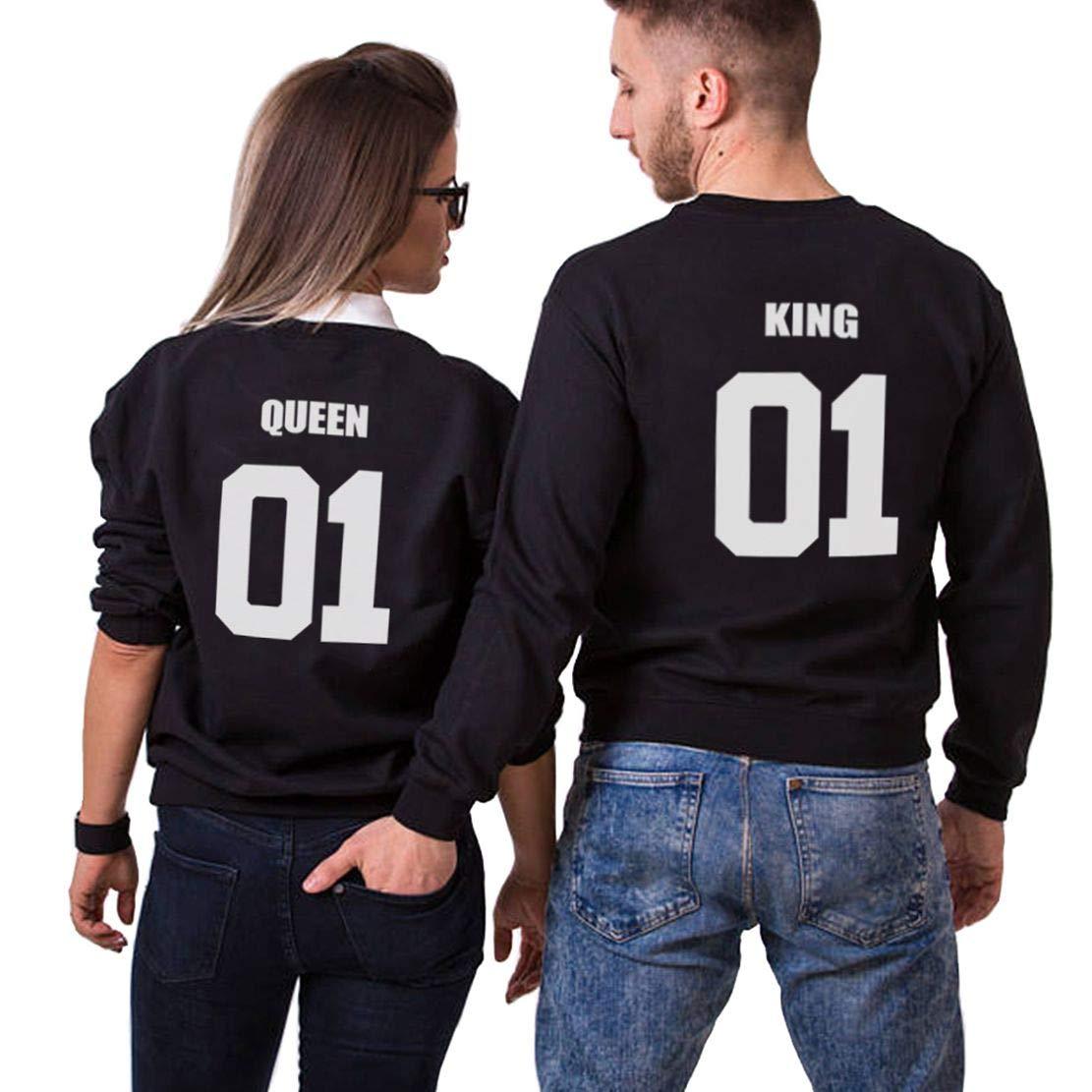 Pärchen Pullover Set King Queen Pulli Partner Sweatshirt Paare Pulli Couple Sweater Schwarz Weiß Baumwolle Damen Herbst Winter Tops Geschenk 2 Stücke