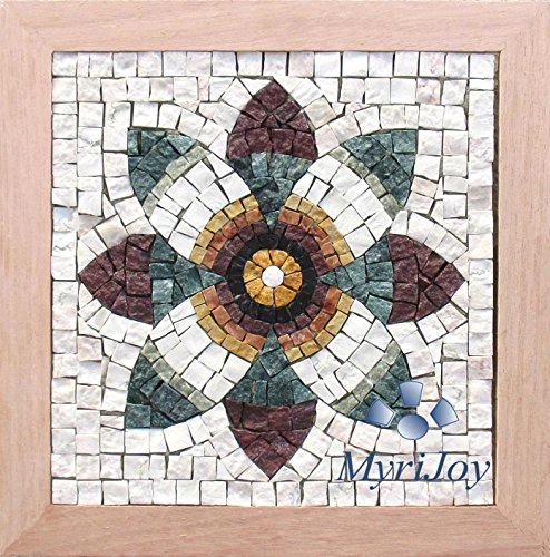 Mosaics kit DIY : Pomegranate Flower/Original gift idea/Do-it-yourself gift/Feng Shui wall art/Kitchen wall decor fruits/Pomegranate artpiece puzzle/Italian marble mosaic (Marble Mosaic Art Tile)