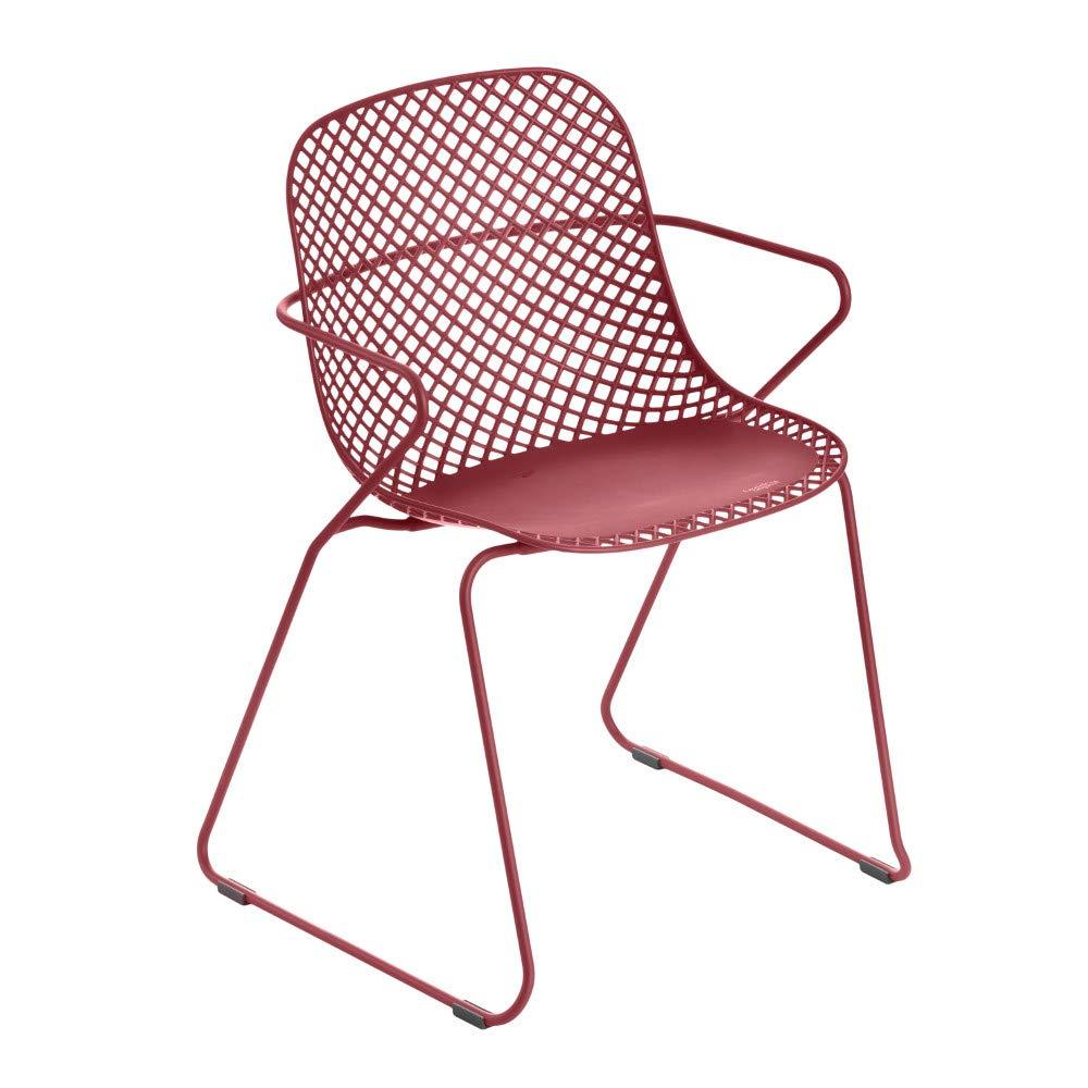 Grosfillex US136712 Ramatuelle '73 Armchair, Stackable, Rouge Bossa Nova (Case of 8)