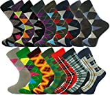 Mysocks Bulk Buy Mens 15 Pairs Argyle and Check Design Socks