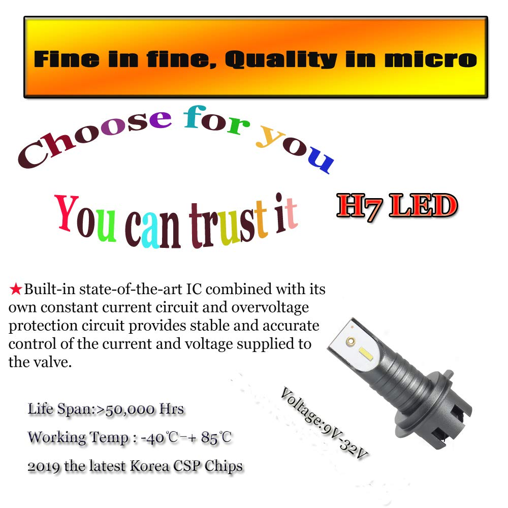 H7 LED Headlight Conversion Kit High//Low Beam 50w 10000lm 6000K Car Headlamp Bulbs Super Brightness CSP Chips