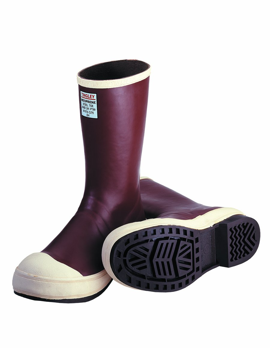 TINGLEY MB922B.10 12-1/2'' Chevron Outsole Neoprene Boot with Fabric Liner Plain Toe, Size 10, Brick Red/Brown