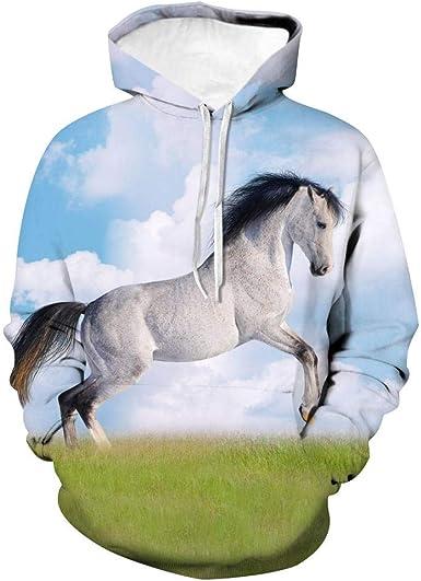 Cavallo Regalo Elettrocardiogramma Cavallo Ragazza Donne Felpa con Cappuccio