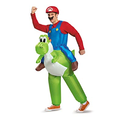 Disguise Menu0027s Mario Riding Yoshi Adult Costume Multi One Size  sc 1 st  Amazon.com : mario brothers family costumes  - Germanpascual.Com