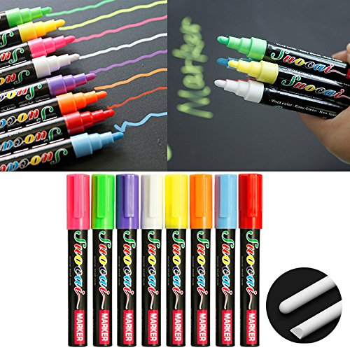 Kangkang@ 8 PCS Erasable Neon Color Fluorescent Liquid Chalk Marker Highlighter Ink Pen for Window LED Writing Board Assorted Color (Round Head) by Kangkang