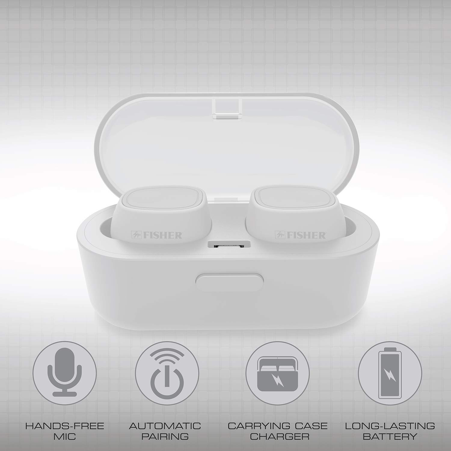 b30a46bee96 Amazon.com: Fisher True Wireless Earbuds with Charging Case, Auto Earbud  Pairing, Auto Bluetooth Paring, Up to 15 Hr Playtime, Loud Bass Sound,  Built-in Mic ...