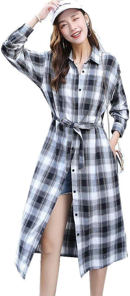 Vestido De Blusa De Las Mujeres Largo Elegante Moda De La Vintage Camisa A Cuadros Vestido De Manga Larga Solapa Suelta Casual Maxi Vestidos Camisa Vestidos (Color : Grau, Size : M):