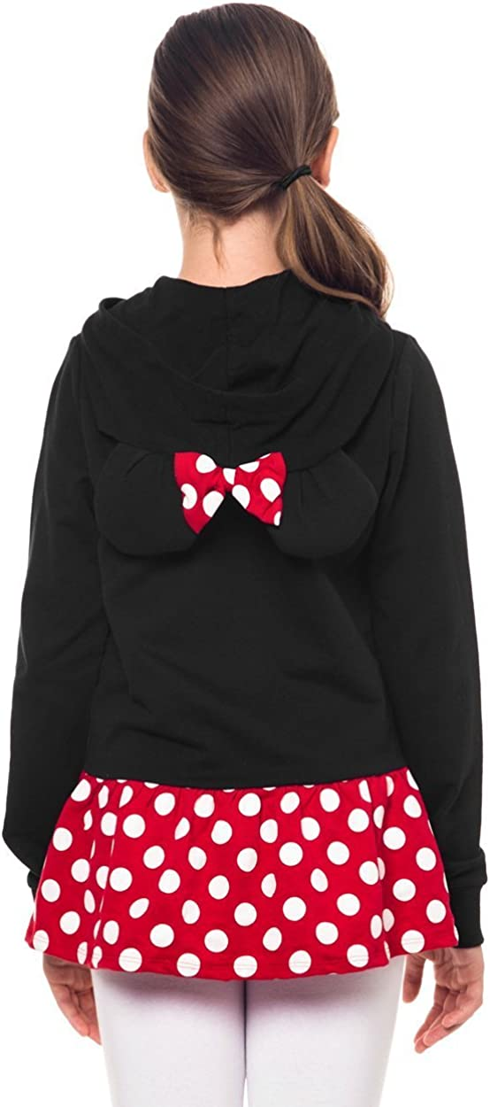 Disney Minnie Mouse Girls Sweatshirt Zip Jacket Costume Ears Ages 4-12