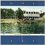 3dRose dc_169887_1 Lake Shore Hotel Clear Lake Iowa Waterfront Postcard Reproduction Desk Clock, 6 by 6-Inch