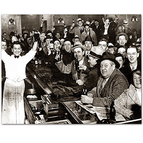 The Night Prohibition Ended - 11x14 Unframed Art Print - Great Man Cave and Bar Decor (Art Decor Bar)