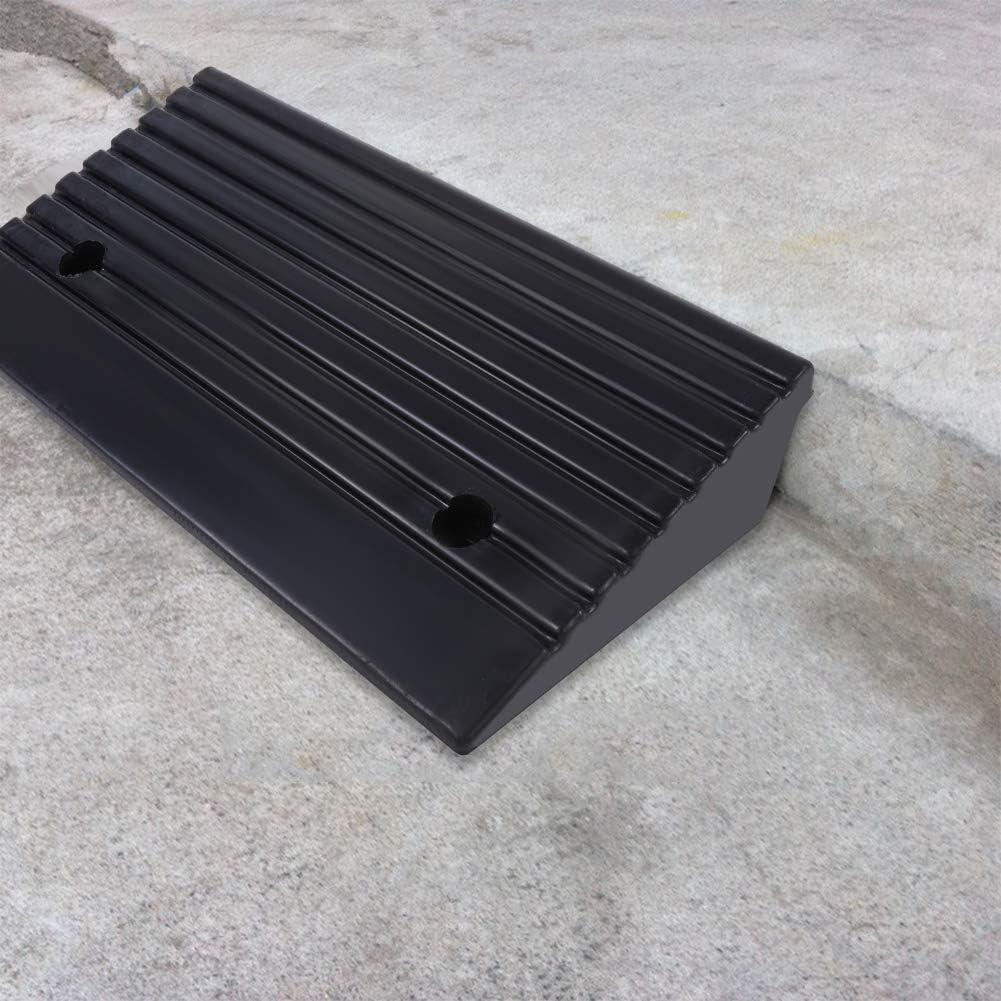 2 x Rampas de Bordillo de Goma,Rampa de Goma para Coche Automóvil Silla de Ruedas,Absorción de impactos, Resistencia al aplastamiento,Bajo ruido,48,7 x 24 x 10 cm
