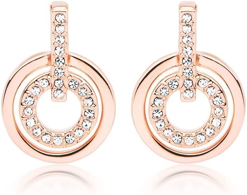 Cyber Monday Deals Round Cut White Cubic Zirconia Circle Stud Earrings in 18K Rose Gold Over Sterling Silver