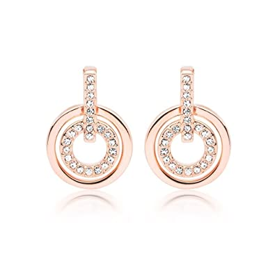 4c3c46f11 White Crystals from Swarovski Round Circle Stud Earrings 18 ct Rose Gold  Plated for Women: Amazon.ca: Jewelry