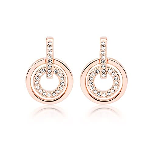 White Crystals from Swarovski Round Circle Stud Earrings 18 ct Rose Gold Plated for Women l0ZtAQT